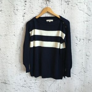 LOFT BLUE AND WHITE STRIPED SWEATER S